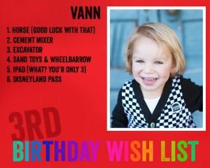 My Three Year Old's Birthday Wish List