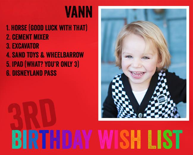 Birthday Wishlist Three Year Old