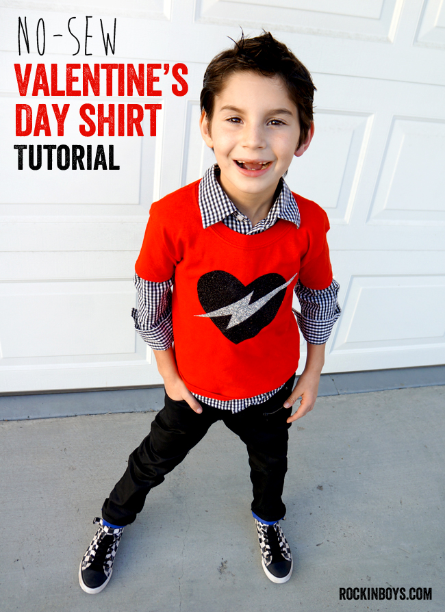 Easy No Sew Valentine S Day Shirt Tutorial Rockin Boys Club