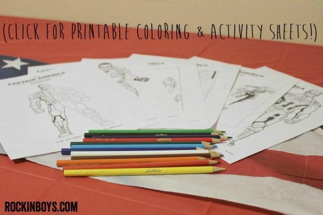captain america printable coloring sheets
